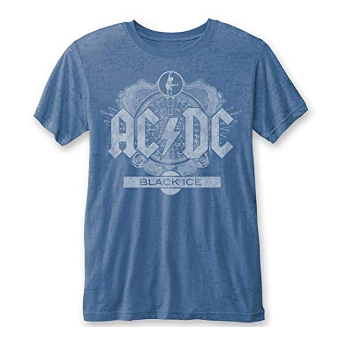 AC/DC Men's High Voltage Highway to Hell World Tour 1979/80 Tee Shirt (Black Ice Burn Out Blue, Medium)