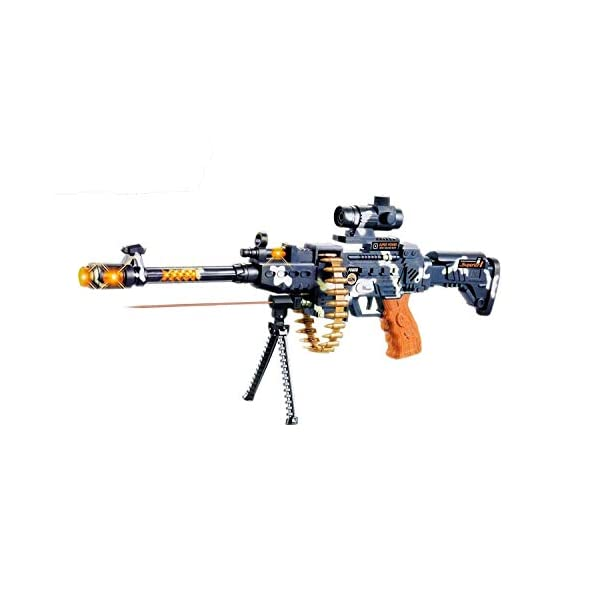Zest 4 Toyz 25″ Musical Army Style Toy Gun for Kids with Music, Lights and Laser Light