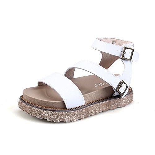 Cheap Summer Women's Sandals Bohemia Beaded Flat Shoes Platform Espadrilles Sandals (White 37/6.5 B(M) US Women)