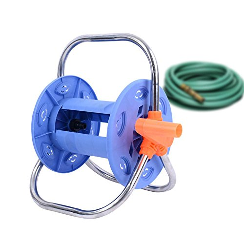 big-time Water Hose Reel, 20 Meters Water Pipe Storage Bracket Stainless Steel Hose Storage Rack Garden Farm Portable Hose Storage Rack by big-time