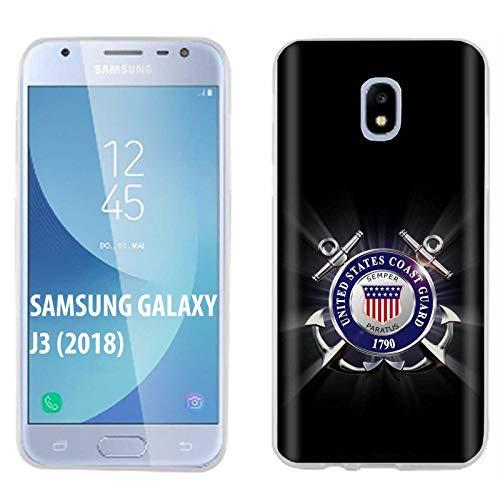 [SlickCandy] Samsung Galaxy J3 2018/Amp Prime 3/Express Prime 3/Achieve/Star/J338 [Clear] Total Defender Soft Slim Phone Case [United States Coast Guard Print]