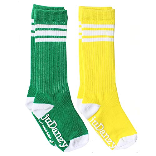 Girls Green Toddler (juDanzy knee high tube socks for boys, girls, baby, toddler & child (4-6 Years, Green & Yellow with White Stripes))