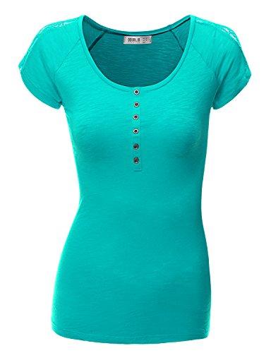 Doublju Women Shoulder&Back Lace Cami Sleeve Lace Embellished Sublimation GREEN Henley Neck Top,Medium,M