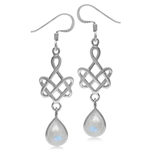 (8x6MM Natural Pear Shape Moonstone 925 Sterling Silver Celtic Heart Knot Dangle Hook Earrings)