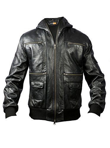 FE X-Factor Black Hooded Bomber Real Leather Jacket Men Inspired by Flight Pilots with Hoodie