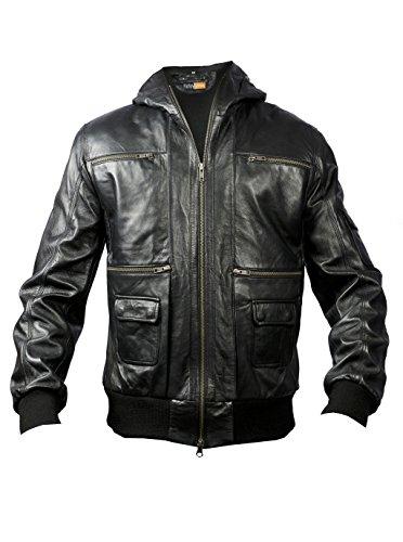 FE XFcto Black Hooded Bomber Real Leather Jacket Men A2 Flight Pilot Winter Coat -