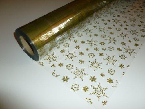 10m x 80cm Pellicola Trasparente con Fiocchi di Neve Natalizi (Oro) per Bouquet, Regali, Pacchetti, Confezioni