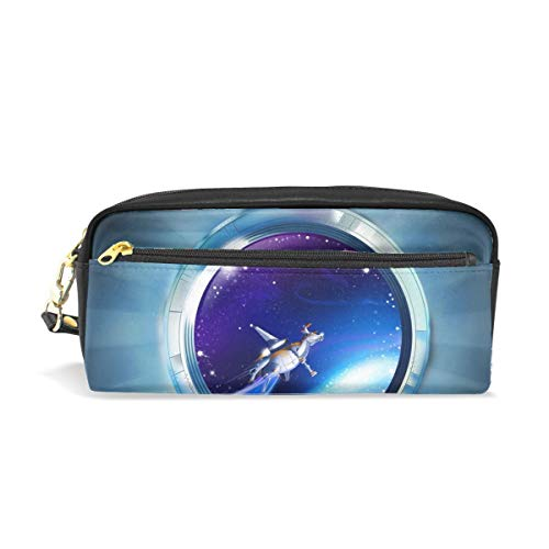 2345 Leather - Space Missile System Print Pu Leather Pen Pencil Case Pouch Case Makeup Cosmetic Travel School Bag