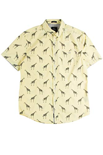 Giraffe Print Fashion - Ragstock Men's Casual Button-Up Icon-Printed Woven Shirts (X-Large, Vintage-giraffe-2268)