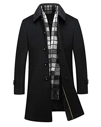 (Chartou Men's Classic Mid-Length Quilted Wool Car Coat with Detachable Scarf (Black, Medium))
