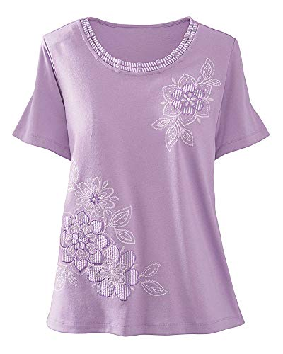 Alfred Dunner Stripe Floral Applique Top, Lilac, 2X