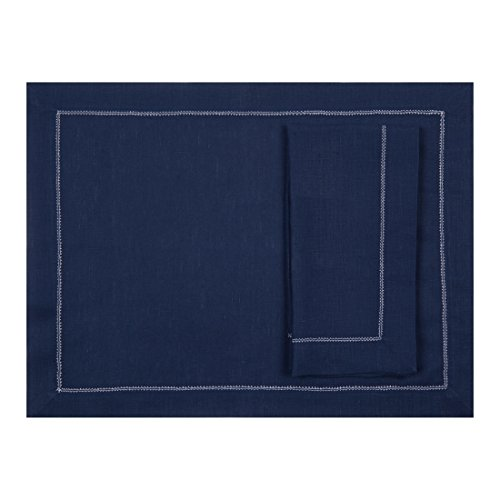 Navy Blue Pure Linen Placemat With Ivory Contrast Hemstitch (Set of Six) by Huddleson Linens