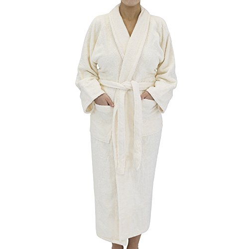 - Classic Terry Cloth Bath Robe - Unisex Spa/Hotel Quality Robes for Men or Women - 100% Long Staple Cotton, Small, Ivory