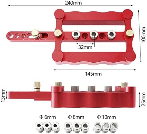 NO LOGO FMN-HOME, 1SET Precise Self Centering Dowelling Jig Metric Dowel 6/8/10mm Drilling Tools For Wood Working Woodworking Joinery Punch Locator (Color : Set B) Set a