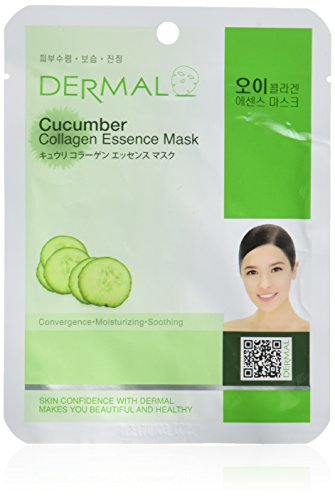 DERMAL Cucumber Collagen Essence Facial Mask Sheet 23g Pack of 10