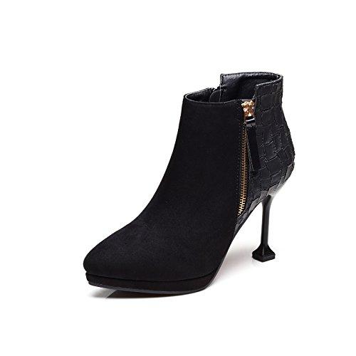 KHSKX-Con Una Pequeña Multa Con Martin El Otoño Y El Invierno Botas Todo Partido Plus Suede Zapatos De Tacón Y Botines. black