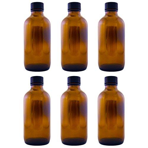 Amber Glass Bottle 4oz w/ Lid (6 pcs)