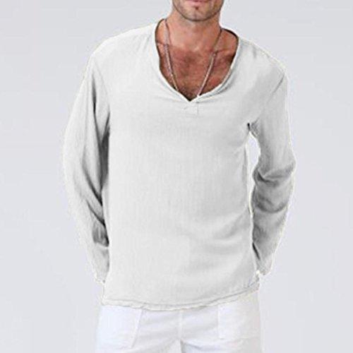 a9c7424f3 haoricu Mens Summer Long Sleeve T-Shirt Cotton Linen Shirt V-Neck Sport  Yoga Top Blouse White