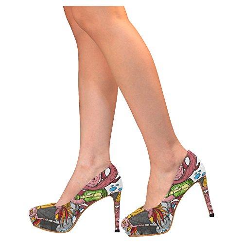 D-story Moda Donna Sexy Stiletto Scarpe Col Tacco Alto Scarpe Multicolored32