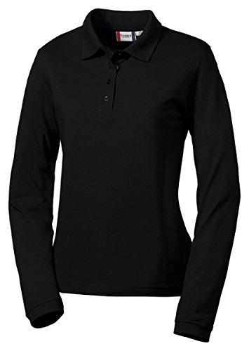 Clique Women's Knit Collar Pique Polo Shirt, Black, (Collar Pique Polo Shirt)