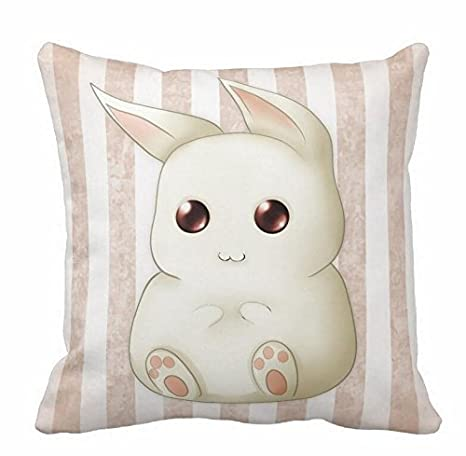 DEFFWBb Cute Puffy Kawaii Bunny Rabbit Throw Pillow Cases 18X18