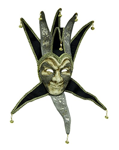 Paper Mache Decorative Masks M8147b The Grand Fool Royal Court Jester Mask - 22 X 26 X 4 Inches - Silver