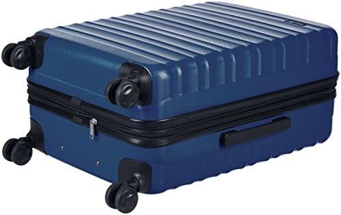 Amazon Basics Hardside Spinner Suitcase Luggage - Expandable with Wheels - 26 Inch, Navy Blue