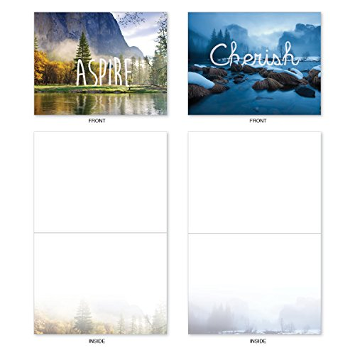 M6581OCB Wordscapes: 10 Assorted Blank All-Occasion Note Cards Featuring Inspirational Words Set in Both Serene and Majestic Landscapes, w/White Envelopes.