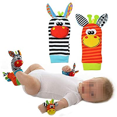 Bluelans Newborn Baby Socks Wrist Bands Rattle Foot Finder Sounds Rattling Sensory Toy Developmental Educational Toys for Infant Child Xmas Gifts Stocking Filler Type 1: Toys & Games [5Bkhe1206989]