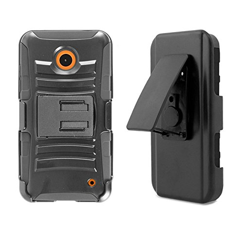 PimpCase Designed for Nokia Lumia 630, Lumia 635, Durable Armor Rugged Hard Shell Silicone Interior Black Phone Cover with Kickstand and Belt Clip Holster (Boost Mobile Lumia 635 Phone)