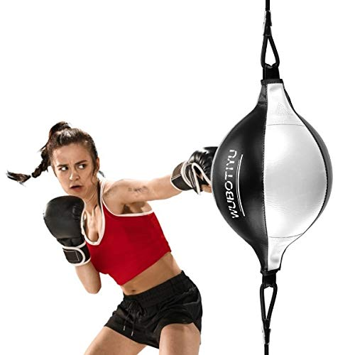 Outamateur Double End Punching Ball, Boxing Speed Ball Leather Boxing Ball with Boxing Reflex Ball, Perfect for Gym MMA…