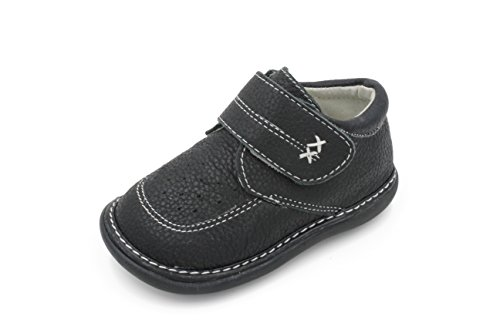 Black with White Stitching Leather Boy Sneaker Squeaky Shoes