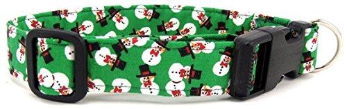 (Green Tossed Snowmen Dog Collar (Small))