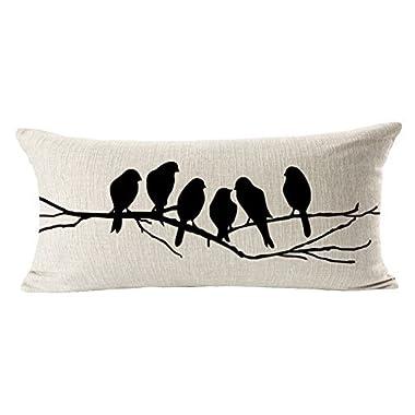 EachWell Birds Batterflies Sofa Cotton Linen Throw Pillowcase Decorative Cushion Cover Pillow Cover Lumbar Pillow Case 12  * 20  Birds