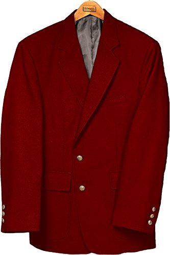Ed Garments Men's Classic Two Button Single Breasted Blazer, RED, 44 -