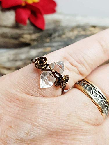 Herkimer Diamond Ring, Minimalist Healing Crystal Ring ~ Copper, Antique Bronze, Sterling Silver, 14k Gold, 12k Rose Gold Wire Wrap
