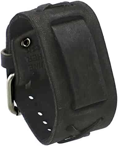 Nemesis #FXB-KK Charcoal 39mm Wide 20mm Lug Width Wide Leather Watch Cuff Band