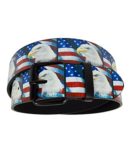 ic Printed Buckle Belts (Large, American Eagle and Flag) (Large Eagle Belt Buckle)