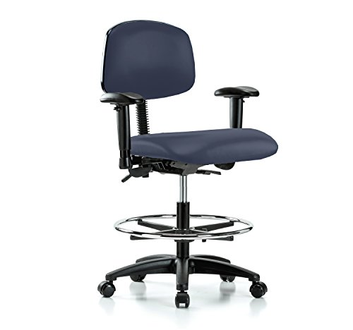Swivel Task Multi (Perch Multi Task Swivel Chair with Foot Ring and Wheels for Carpet or Linoleum, Workbench Height, Imperial Blue Vinyl)