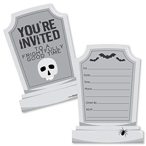 Graveyard Tombstones - Shaped Fill-in Invitations - Halloween Party Invitation Cards with Envelopes - Set of 12]()