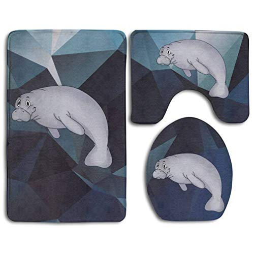 (Bahilye This is My Manatee Sea Mammal Ocean Animal Skidproof Toilet Seat Cover Bath Mat Lid Cover)