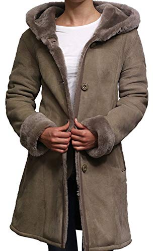 Brandslock Women Spanish Merino Genuine Shearling Sheepskin Leather Toscana Coat (X-Small / (Fits Chest: 32-34 inches), Suede Grey)