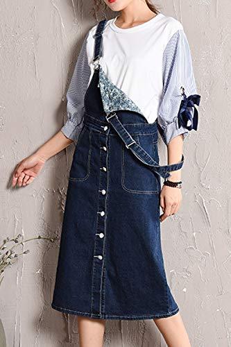 Automne Plus Denim Casual Femmes Printemps Taille Jarretelles Fonc Bleu Jupe Jupes La XxtwCq1C