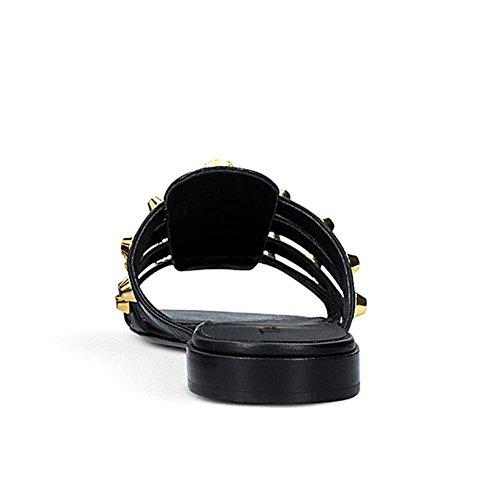 black Automne L Femmes YC Talon Pour Robe Bout Strass Décontractée Rond Argent Synthétique Sandales Été Chaussures Or rSXUqSa