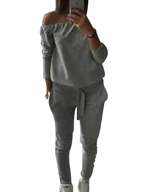 af41152551d8 Mengmiao Mujer Conjuntos Deportivos Chándal Casual Chándales Sudadera Mujer  Pantalones 2 Piezas