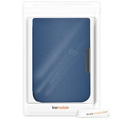kwmobile Elegant synthetic leather case for the Pocketbook Touch HD/Touch HD 2 Butterfly Tendril in dark blue by kwmobile (Image #6)