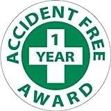 NMC HH31 2'' x 2'' PS Vinyl Hard Hat Emblem w/Legend: ''Accident Free 1 Year Award'', 12 Packs of 25 pcs