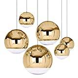 Chrome Mirror Ball Hanging Lamp,Nordic Pendant Lights Globe Glass Pendant Lamp & Clear Glass Globe Arco Ball Ceiling Pendant Light Shade,Silver,25CM