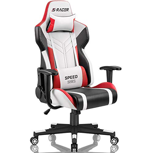 (Homall Gaming Chair Racing Style High-Back PU Leather Office Chair Computer Desk Chair Executive and Ergonomic Swivel Chair with Headrest and Lumbar Support (White/Red))