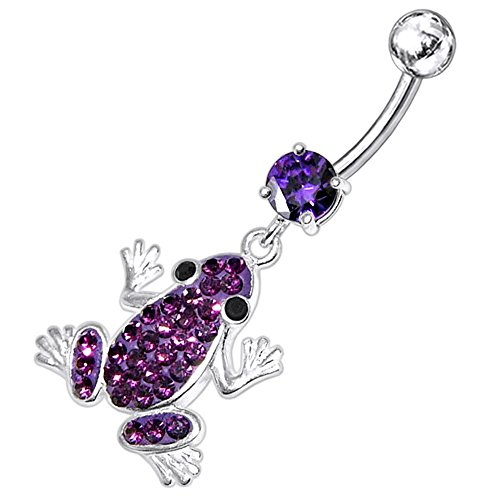 Belly Frog Button Dangling Ring - Purple CZ Stone with Multi Crystal Stone Frog Dangling Design 925 Sterling Silver Belly Button Piercing Ring Jewelry